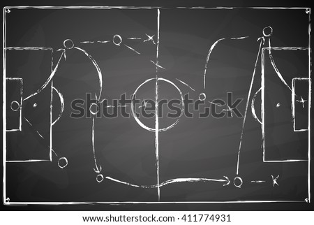 abstract gray black board soccer field background with white marks - stock vector