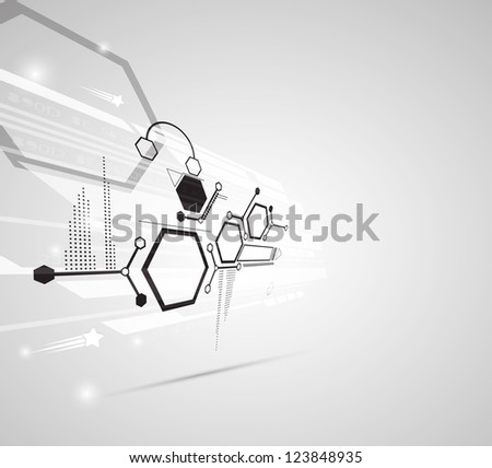 abstract gray futuristic computer technology business background - stock vector