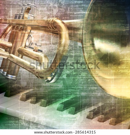 abstract gray grunge vintage music background with piano and trumpet - stock vector