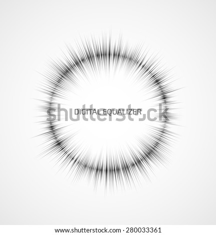 Abstract gray round music equalizer on white background. Vector illustration - stock vector