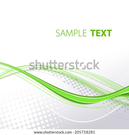 Abstract gray template with green wavy lines. Vector