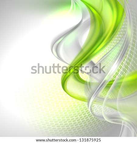 Abstract gray waving background with green element - stock vector