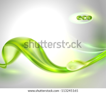 Abstract gray waving background with green leaf and dew - stock vector