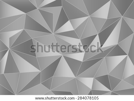 Abstract grayscale triangles 3d background - stock vector