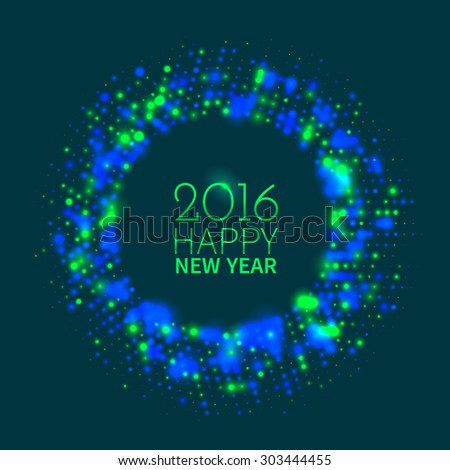 Abstract green and blue round frame of colorful disco lights shining and shimmering on the black background for New Year - stock vector