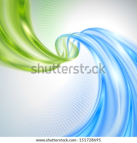 Abstract green and blue wave background - stock vector