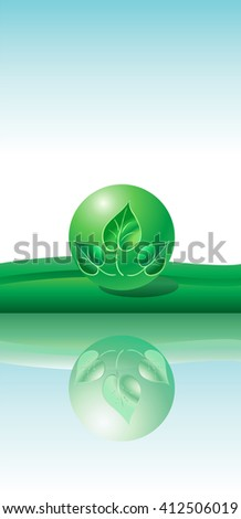 Abstract green background. Green ball with green leaves logo and reflection. Vector Illustration. Eco concept. Template for art, Print, Web design. World environment day.