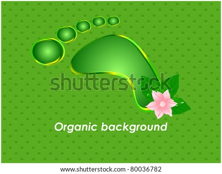Abstract green background with a stylized print of a human foot and pink flower - stock vector