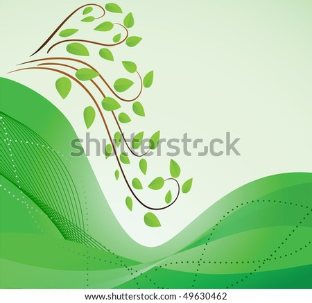 Abstract green background with branches and waves