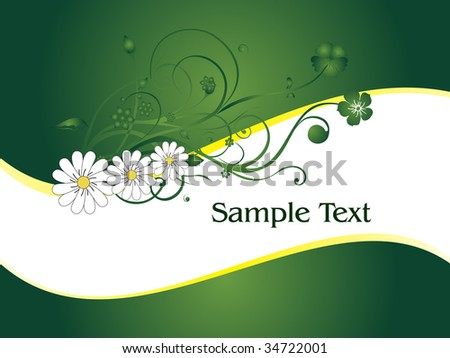abstract green background with creative floral design