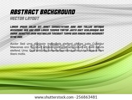 Abstract green background with grey hexagon. Vector design. - stock vector