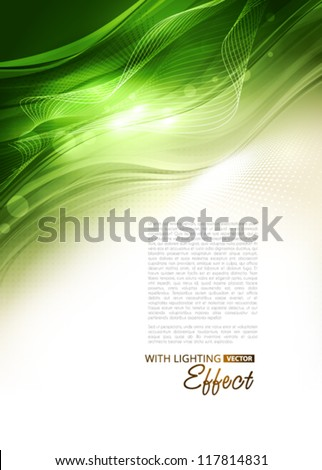 Abstract green background with lighting effect. Vector