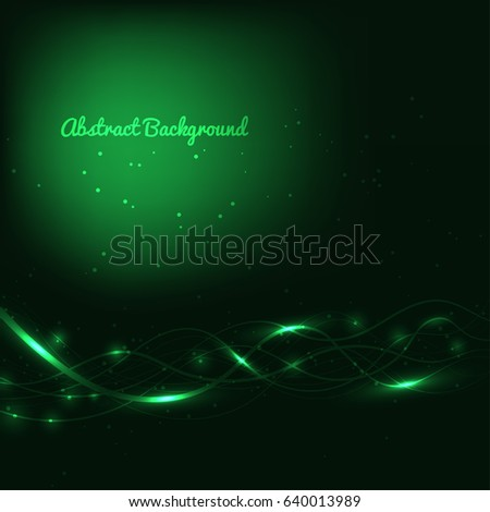 Abstract green background with lines and lights