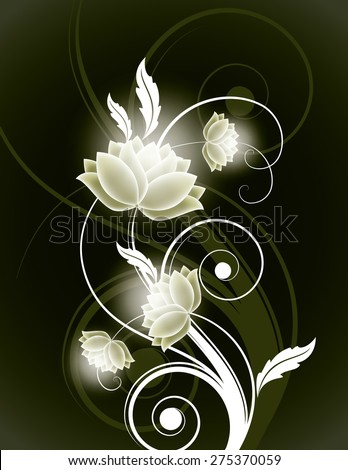 Abstract Green Background with Shiny Flowers. - stock vector