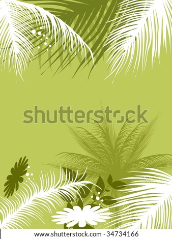abstract green background with tree and flower - stock vector