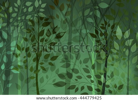 Abstract green background with trees and leaves