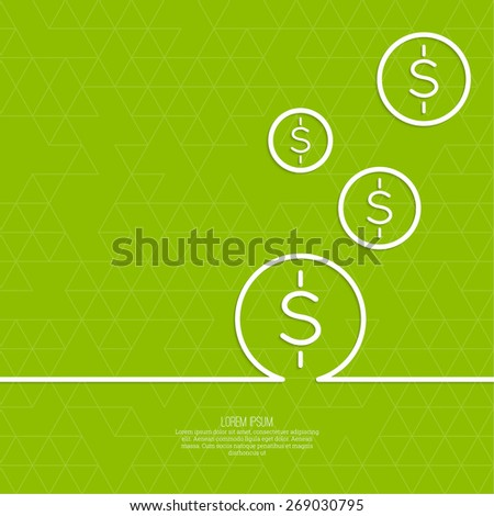 Abstract green background with triangles and falling coins. For financial reporting, revenue growth, earnings, advertising contribution, add deposits and loans - stock vector