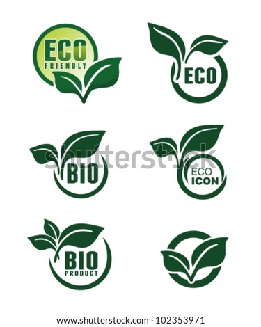 Abstract green banners with leafs. Vector badges and labels set. - stock vector