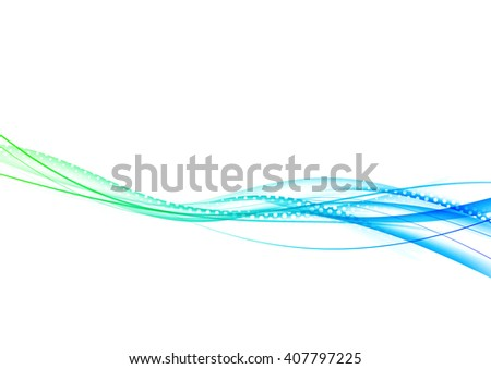 Abstract green blue wave background template minimalistic fresh swoosh layout. Vector illustration - stock vector