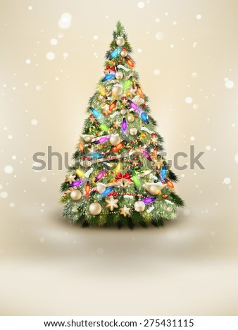 Abstract green christmas tree on beige background. EPS 10 vector file included - stock vector