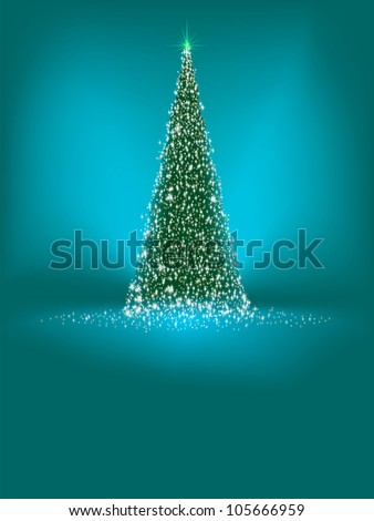 Abstract green christmas tree on blue background. EPS 8 vector file included - stock vector