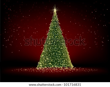 Abstract green christmas tree on red background. EPS 8 vector file included - stock vector