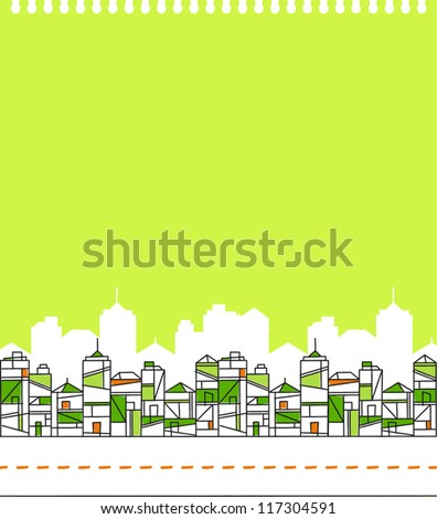 Abstract Green City Skyline Vector Illustration eps8