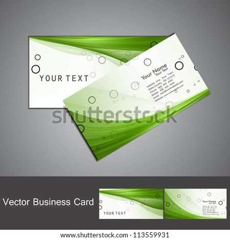 abstract green colorful business card set vector - stock vector