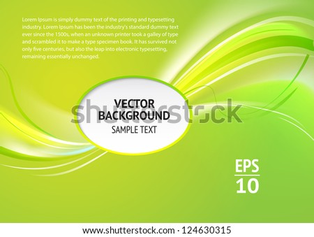 Abstract green cover with smooth lines. Vector background, eps 10, contains transparencies.