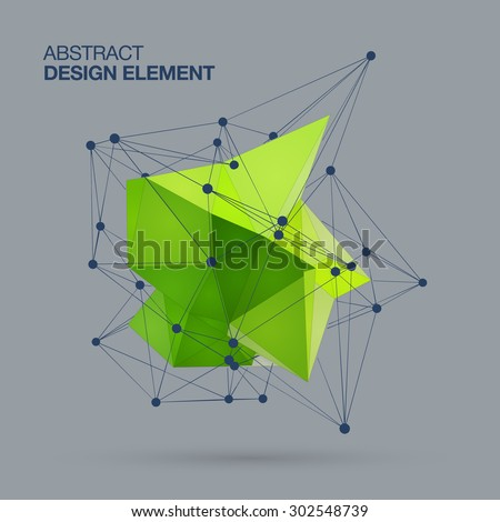 Abstract green design element  on black vector background, low poly style. - stock vector
