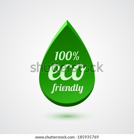 Abstract green drop, eco friendly icon. Vector illustration - stock vector