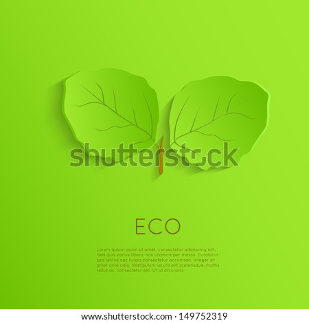 Abstract green eco background. Ecology concept. Geometric modern origami style. - stock vector