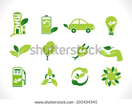 abstract green eco icons vector illustration - stock vector