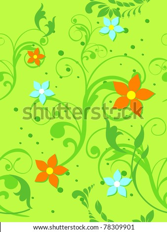 abstract green floral, bloom pattern background, illustration