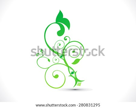abstract green floral shape vector illustration - stock vector