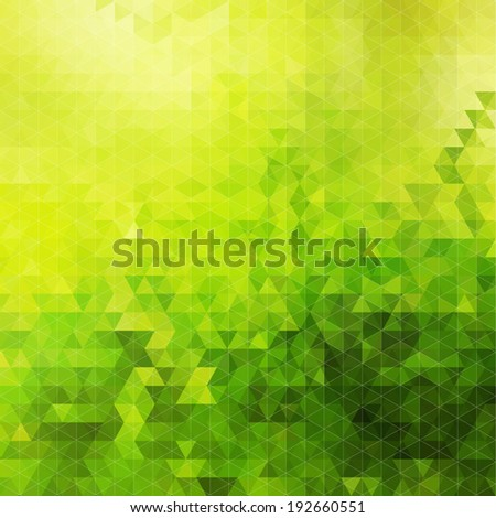 Abstract green geometric sunny background, colorful mosaic banner. Vector illustration. - stock vector