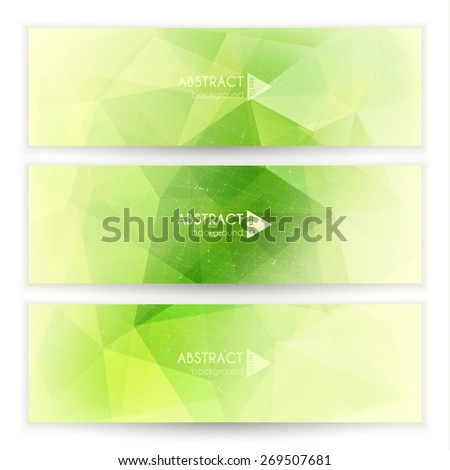 Abstract green geometric triangular banners set - eps10