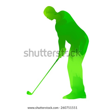 Abstract green golf player - stock vector