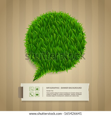 Abstract green grass bubble and vintage paper label with cardboard paper texture background, Natural banner idea concept - Vector illustration - stock vector