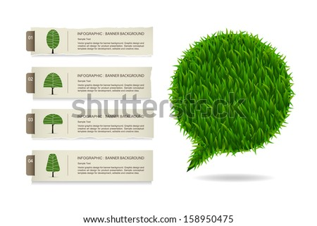 Abstract green grass bubble infographics background, Natural banner idea concept - Vector illustration - stock vector