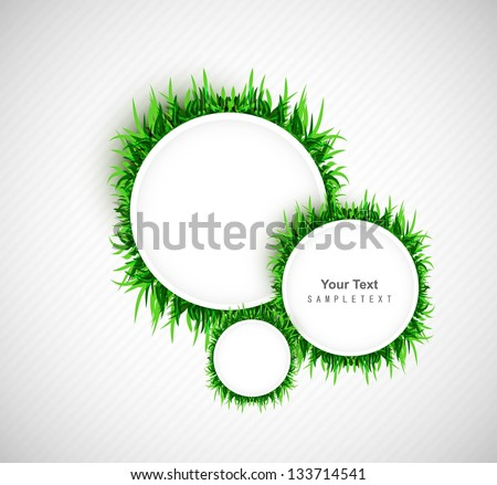 abstract green grass circle frame vector whit background - stock vector