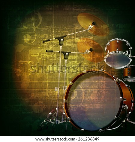 abstract green grunge music background with drum kit - stock vector