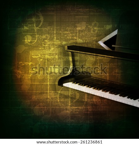 abstract green grunge music background with grand piano - stock vector