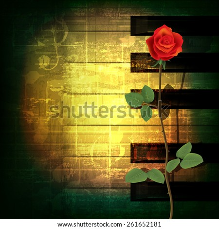 abstract green grunge music background with red rose - stock vector