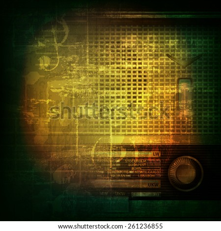 abstract green grunge music background with retro radio - stock vector