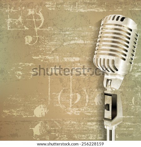 abstract green grunge sound background with retro microphone - stock vector