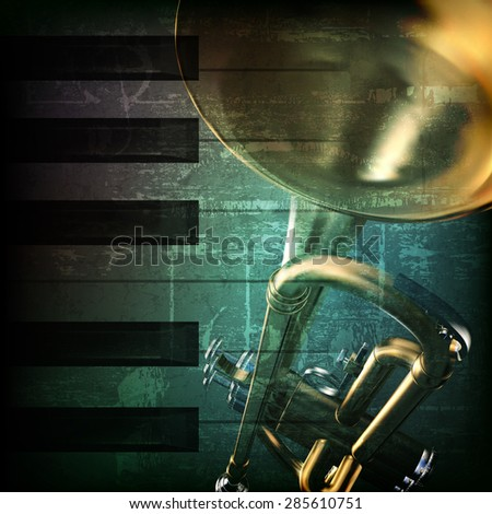abstract green grunge vintage music background with trumpet and piano keys - stock vector