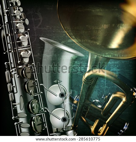 abstract green grunge vintage music background with trumpet and saxophone - stock vector