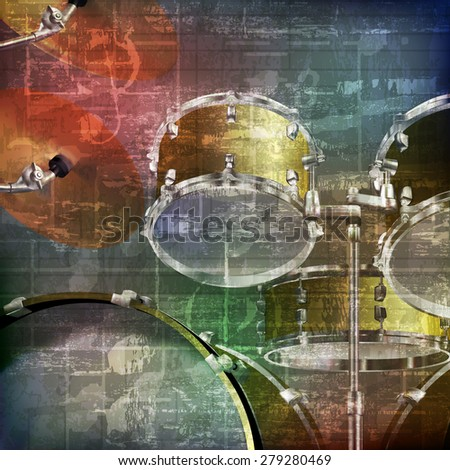 abstract green grunge vintage sound background with drum kit - stock vector