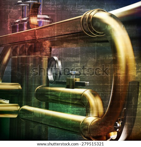 abstract green grunge vintage sound background with trumpet